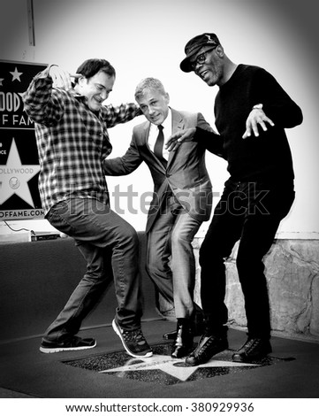 LOS ANGELES, CA - DECEMBER 1, 2014: Christoph Waltz with Quentin Tarantino & Samuel L. Jackson at Hollywood Walk of Fame ceremony honoring Christoph Waltz with the 2,536th star on the Walk of Fame.  - stock photo