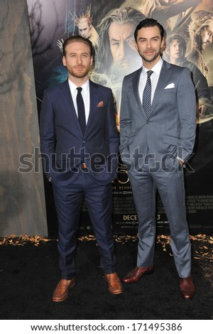 "LOS ANGELES, CA - DECEMBER 2, 2013: Dean O'Gorman (left) & Aidan Turner at the Los Angeles premiere of their movie ""The Hobbit: The Desolation of Smaug"" at the Dolby Theatre, Hollywood."