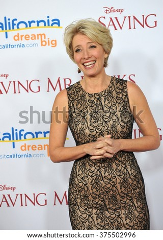"LOS ANGELES, CA - DECEMBER 9, 2013: Emma Thompson at the US premiere of her movie ""Saving Mr Banks"" at Walt Disney Studios, Burbank.  - stock photo"