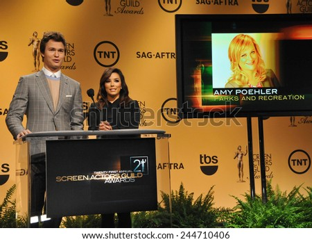 LOS ANGELES, CA - DECEMBER 10, 2014: Eva Longoria & Ansel Elgort announce the nominations for the 21st Annual Screen Actors Guild Awards at the Pacific Design Centre, West Hollywood.  - stock photo