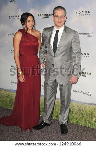 "LOS ANGELES, CA - DECEMBER 6, 2012: Matt Damon & wife Luciana Barroso at the Los Angeles premiere of his new movie ""Promised Land"" at the Directors Guild Theatre. - stock photo"