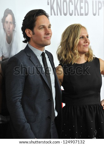 "LOS ANGELES, CA - DECEMBER 12, 2012: Paul Rudd & wife Julie Yaeger at the world premiere of his movie ""This Is 40"" at Grauman's Chinese Theatre, Hollywood."