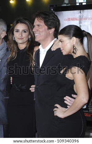 """LOS ANGELES, CA - DECEMBER 9, 2009: Penelope Cruz (left), director Rob Marshall & Stacy """"Fergie"""" Ferguson at the Los Angeles premiere of their new movie """"Nine"""" at the Mann Village Theatre, Westwood. - stock photo"""