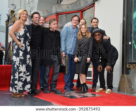 LOS ANGELES, CA - DECEMBER 21, 2015: Quentin Tarantino & Zoe Bell, Tim Roth, Quentin Tarantino, Jennifer Jason Leigh, Demian Bichir, Samuel L. Jackson at Tarantino's Walk of Fame star ceremony - stock photo