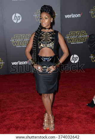 "LOS ANGELES, CA - DECEMBER 14, 2015: Singer Janelle Monae at the world premiere of ""Star Wars: The Force Awakens"" on Hollywood Boulevard. Picture: Paul Smith / Featureflash - stock photo"