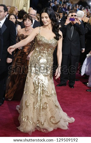 LOS ANGELES, CA - FEB 24: Catherine Zeta Jones at the 85th Annual Academy Awards on February 24, 2013 in Los Angeles, California - stock photo