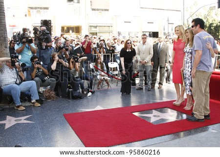 LOS ANGELES, CA - FEB 22: Jennifer Aniston; Adam Sandler; Malin Akerman at ceremony where Jennifer Aniston is honored with a star on the Hollywood Walk of Fame on February 22, 2012 in Los Angeles, CA - stock photo