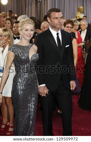LOS ANGELES, CA - FEB 24: Naomi Watts, Liev Schreiber at the 85th Annual Academy Awards on February 24, 2013 in Los Angeles, California