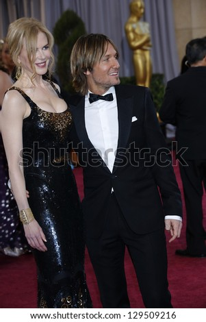 LOS ANGELES, CA - FEB 24: Nicole Kidman, Keith Urban at the 85th Annual Academy Awards on February 24, 2013 in Los Angeles, California - stock photo