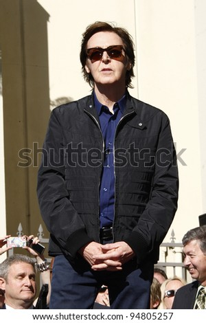 LOS ANGELES, CA - FEB 9: Paul McCartney at a ceremony where Paul McCartney is honored with a star on The Hollywood Walk Of Fame on February 9, 2012 in Los Angeles, California - stock photo