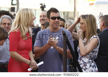 LOS ANGELES, CA - FEB 22: (R-L) Jennifer Aniston; Adam Sandler; Malin Akerman at ceremony where Jennifer Aniston is honored with a star on the Hollywood Walk of Fame on February 22, 2012 in Los Angeles, CA - stock photo