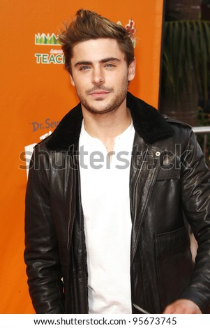LOS ANGELES, CA - FEB 19: Zac Efron at the 'Dr. Suess' The Lorax' premiere at Universal Studios Hollywood on February 19, 2012 in Los Angeles, California - stock photo