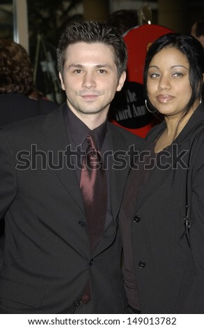 LOS ANGELES, CA - FEBRUARY 17, 2002: Actor FREDDIE RODRIGUEZ & wife at the 3rd Annual Hollywood Makeup Artists & Hair Stylists Awards.