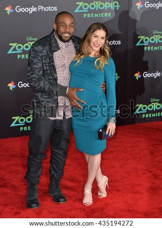 "LOS ANGELES, CA - FEBRUARY 17, 2016: Actress Allison Holker & husband actor Stephen Boss at the premiere of Disney's ""Zootopia"" at the El Capitan Theatre, Hollywood. - stock photo"