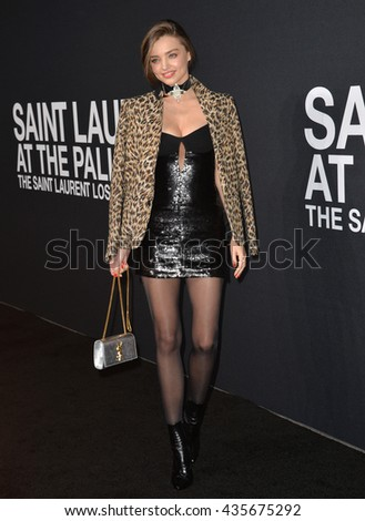 LOS ANGELES, CA - FEBRUARY 10, 2016: Actress Miranda Kerr arriving at the Saint Laurent at the Palladium fashion show at the Hollywood Palladium.