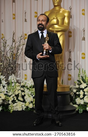 LOS ANGELES, CA - FEBRUARY 26, 2012: Asghar Farhadi, winner of Best Foreign Language Film for A Separation (Iran), at the 82nd Academy Awards at the Hollywood & Highland Theatre, Hollywood.  - stock photo