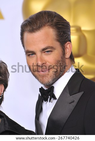 LOS ANGELES, CA - FEBRUARY 22, 2015: Chris Pine at the 87th Annual Academy Awards at the Dolby Theatre, Hollywood.  - stock photo