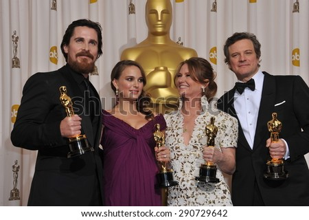 LOS ANGELES, CA - FEBRUARY 27, 2011: Christian Bale & Natalie Portman & Melissa Leo & Colin Firth at the 83rd Academy Awards at the Kodak Theatre, Hollywood.