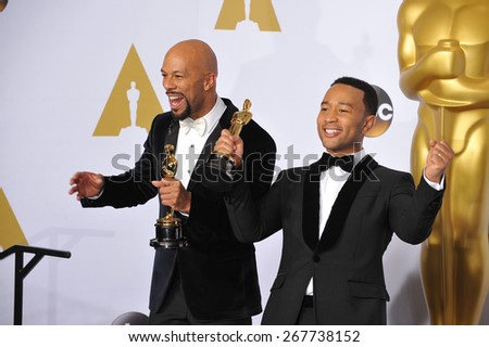 LOS ANGELES, CA - FEBRUARY 22, 2015: Common & John Legend (Lonnie Lynn & John Stephens) at the 87th Annual Academy Awards at the Dolby Theatre, Hollywood.