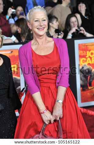 "LOS ANGELES, CA - FEBRUARY 22, 2012: Dame Helen Mirren at the world premiere of ""John Carter"" at the Regal Cinemas L.A. Live. February 22, 2012  Los Angeles, CA - stock photo"