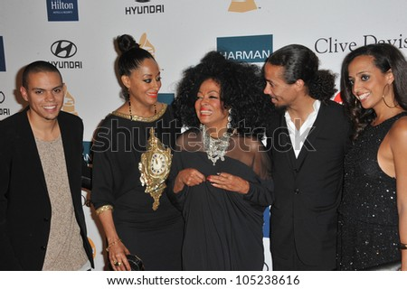 LOS ANGELES, CA - FEBRUARY 11, 2012: Diana Ross & family at the 2012 Clive Davis Pre-Grammy Party at the Beverly Hilton Hotel, Beverly Hills. February 11, 2012  Los Angeles, CA