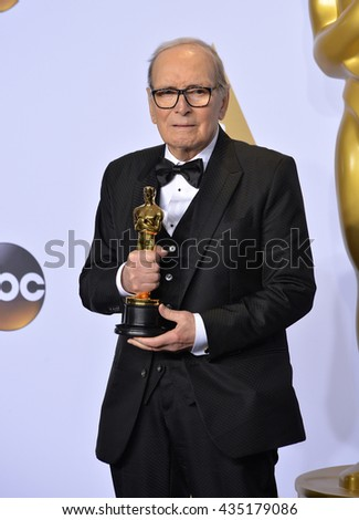 LOS ANGELES, CA - FEBRUARY 28, 2016: Ennio Morricone at the 88th Academy Awards at the Dolby Theatre, Hollywood.