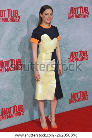 "LOS ANGELES, CA - FEBRUARY 18, 2015: Gillian Jacobs at the Los Angeles premiere of her movie ""Hot Tub Time Machine 2"" at the Regency Village Theatre, Westwood.  - stock photo"