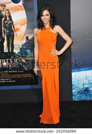 """LOS ANGELES, CA - FEBRUARY 2, 2015: Jenna Dewan-Tatum at the Los Angeles premiere of """"Jupiter Ascending"""" at the TCL Chinese Theatre, Hollywood.  - stock photo"""