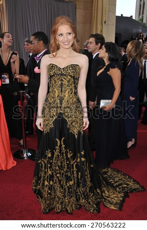 LOS ANGELES, CA - FEBRUARY 26, 2012: Jessica Chastain at the 84th Annual Academy Awards at the Hollywood & Highland Theatre, Hollywood.  - stock photo
