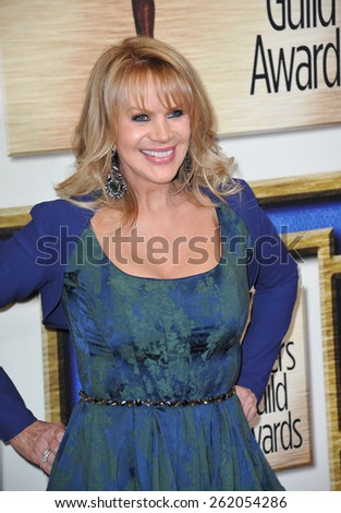 LOS ANGELES, CA - FEBRUARY 14, 2015: Joan Dangerfield at the 2015 Writers Guild Awards at the Hyatt Regency Century Plaza Hotel.  - stock photo