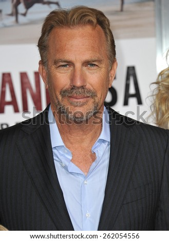 "LOS ANGELES, CA - FEBRUARY 9, 2015: Kevin Costner at the world premiere of his movie ""McFarland USA"" at the El Capitan Theatre, Hollywood.  - stock photo"