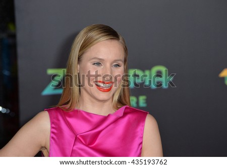 "LOS ANGELES, CA - FEBRUARY 17, 2016: Kristen Bell at the premiere of Disney's ""Zootopia"" at the El Capitan Theatre, Hollywood. - stock photo"