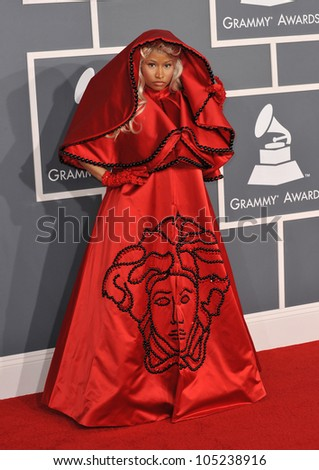 LOS ANGELES, CA - FEBRUARY 12, 2012: Nicki Minaj at the 54th Annual Grammy Awards at the Staples Centre, Los Angeles. February 12, 2012  Los Angeles, CA - stock photo