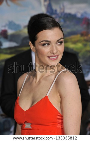 """LOS ANGELES, CA - FEBRUARY 13, 2013: Rachel Weisz at the world premiere of her movie """"Oz: The Great and Powerful"""" at the El Capitan Theatre, Hollywood. - stock photo"""