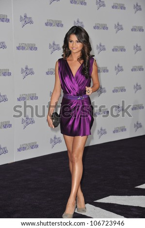 """LOS ANGELES, CA - FEBRUARY 8, 2011: Selena Gomez at the Los Angeles premiere of """"Justin Bieber: Never Say Never"""" at the Nokia Theatre LA Live. February 8, 2011  Los Angeles, CA - stock photo"""