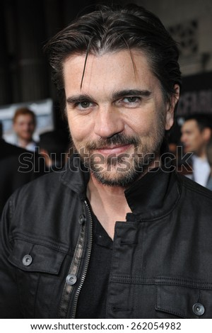 "LOS ANGELES, CA - FEBRUARY 9, 2015: Singer Juanes at the world premiere of ""McFarland USA"" at the El Capitan Theatre, Hollywood."