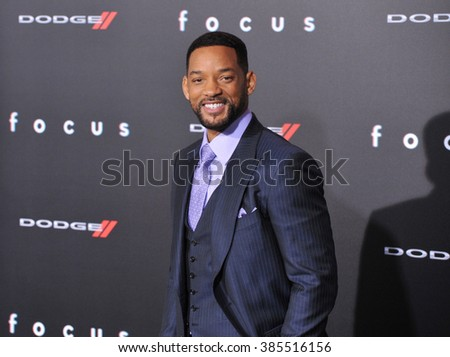 "LOS ANGELES, CA - FEBRUARY 24, 2015: Will Smith at the Los Angeles premiere of his movie ""Focus"" at the TCL Chinese Theatre, Hollywood. - stock photo"