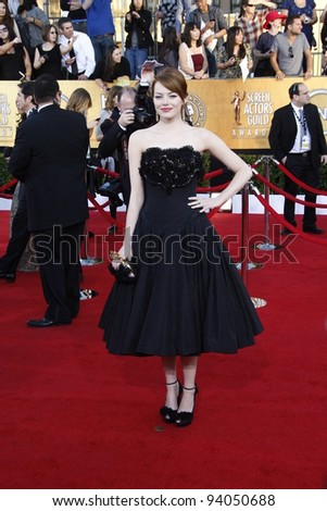 LOS ANGELES, CA - JAN 29: Emma Stone at the 18th annual Screen Actor Guild Awards at the Shrine Auditorium on January 29, 2012 in Los Angeles, California - stock photo