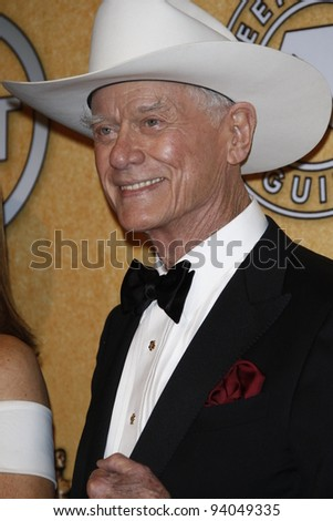 LOS ANGELES, CA - JAN 29: Larry Hagman in the press room at the 18th annual Screen Actor Guild Awards at the Shrine Auditorium on January 29, 2012 in Los Angeles, California