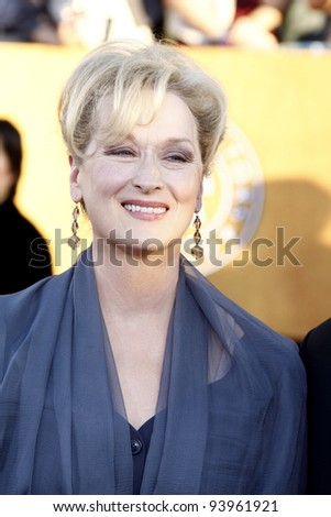 LOS ANGELES, CA - JAN 29: Meryl Streep at the 18th annual Screen Actor Guild Awards at the Shrine Auditorium on January 29, 2012 in Los Angeles, California - stock photo