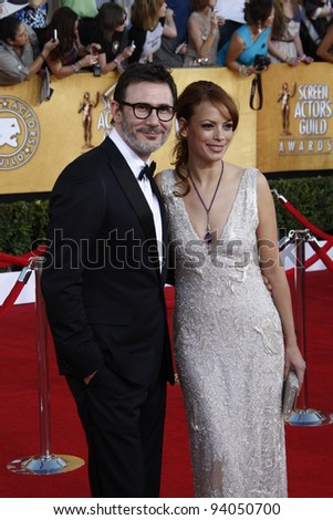 LOS ANGELES, CA - JAN 29: Michael Hazanavicius; Berenice Bejo at the 18th annual Screen Actor Guild Awards at the Shrine Auditorium on January 29, 2012 in Los Angeles, California - stock photo