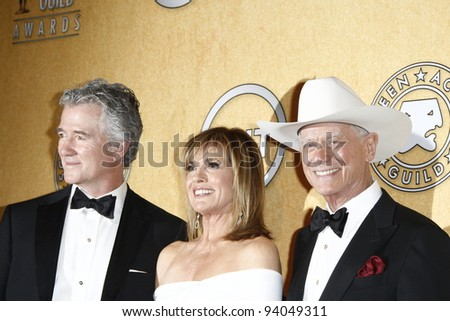 LOS ANGELES, CA - JAN 29: Patrick Duffy; Linda Gray; Larry Hagman in the press room at the 18th annual Screen Actor Guild Awards at the Shrine Auditorium on January 29, 2012 in Los Angeles, California - stock photo