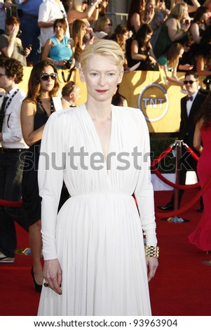 LOS ANGELES, CA - JAN 29: Tilda Swinton at the 18th annual Screen Actor Guild Awards at the Shrine Auditorium on January 29, 2012 in Los Angeles, California - stock photo