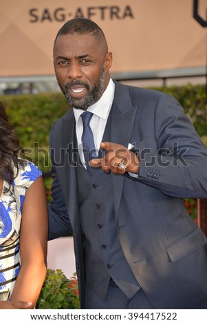 LOS ANGELES, CA - JANUARY 30, 2016: Actor Idris Elba at the 22nd Annual Screen Actors Guild Awards at the Shrine Auditorium - stock photo