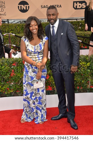 LOS ANGELES, CA - JANUARY 30, 2016: Actor Idris Elba & daughter Isan Elba at the 22nd Annual Screen Actors Guild Awards at the Shrine Auditorium - stock photo
