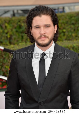 LOS ANGELES, CA - JANUARY 30, 2016: Actor Kit Harington - Game of Thrones - at the 22nd Annual Screen Actors Guild Awards at the Shrine Auditorium - stock photo