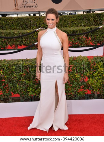 LOS ANGELES, CA - JANUARY 30, 2016: Actress Amy Landecker at the 22nd Annual Screen Actors Guild Awards at the Shrine Auditorium - stock photo