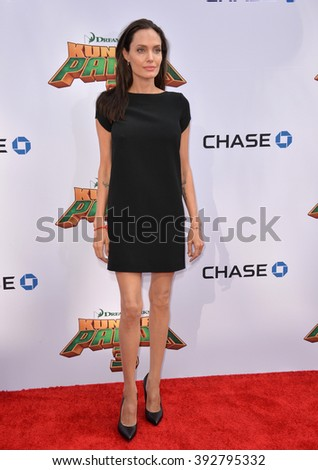 LOS ANGELES, CA - JANUARY 16, 2016: Actress Angelina Jolie at the world premiere of Kung Fu Panda 3 at the TCL Chinese Theatre, Hollywood. - stock photo