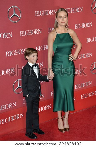 LOS ANGELES, CA - JANUARY 2, 2016: Actress Brie Larson & actor Jacob Tremblay at the 2016 Palm Springs International Film Festival Awards Gala - stock photo