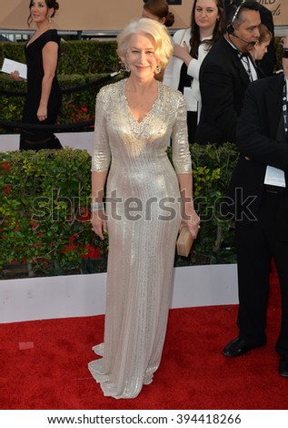 LOS ANGELES, CA - JANUARY 30, 2016: Actress Dame Helen Mirren at the 22nd Annual Screen Actors Guild Awards at the Shrine Auditorium